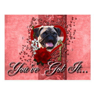 Valentines - Key to My Heart - Pug Postcard