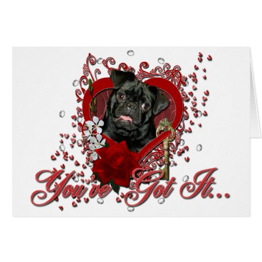 Valentines - Key to My Heart - Pug - Ruffy Cards