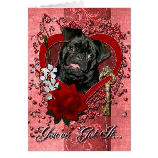 Valentines - Key to My Heart - Pug - Ruffy Greeting Card
