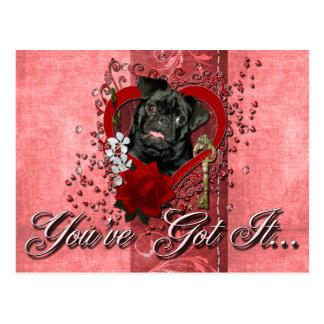Valentines - Key to My Heart - Pug - Ruffy Postcard