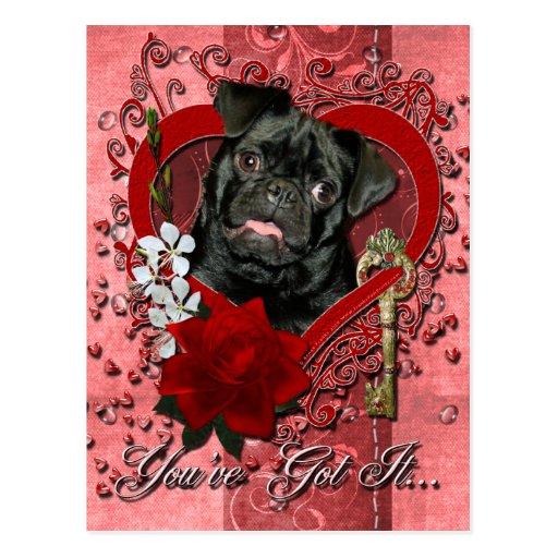 Valentines - Key to My Heart - Pug - Ruffy Postcards