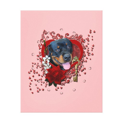 Valentines - Key to My Heart - Rottweiler - Harley Gallery Wrapped Canvas