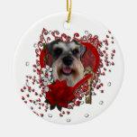 Valentines - Key to My Heart - Schnauzer Round Ceramic Decoration