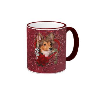 Valentines - Key to My Heart - Sheltie - Cooper Ringer Mug