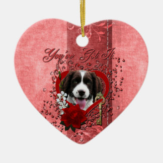 Valentines - Key to My Heart - Springer Spaniel Christmas Ornament