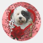 Valentines - Key to My Heart - Tibetan Terrier Round Stickers