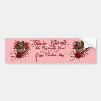 Valentines - Key to My Heart - Vallhund Bumper Sticker