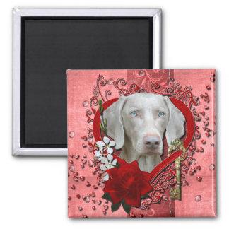 Valentines - Key to My Heart - Weimeraner - Blue Refrigerator Magnet