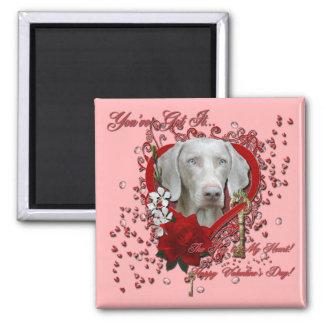 Valentines - Key to My Heart - Weimeraner - Blue Fridge Magnet
