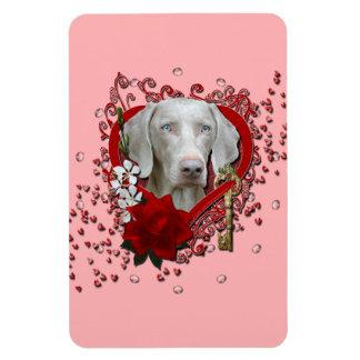 Valentines - Key to My Heart - Weimeraner - Blue Magnet