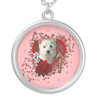Valentines - Key to My Heart West Highland Terrier Silver Plated Necklace