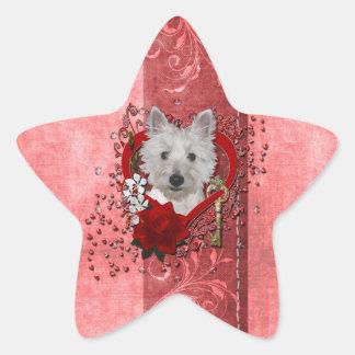 Valentines - Key to My Heart - Westie - Tank Star Stickers