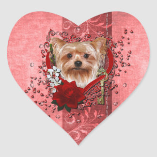 Valentines - Key to My Heart - Yorkshire Terrier Heart Sticker