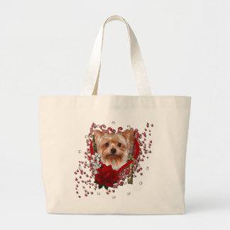 Valentines - Key to My Heart - Yorkshire Terrier Large Tote Bag