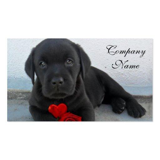 Valentine's labrador puppy business card template