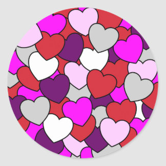 Valentines Love Hearts Round Sticker