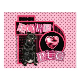 Valentines - Love Pug - Pug - Ruffy Personalized Invitations