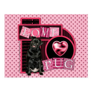Valentines - Love Pug - Ruffy Postcard