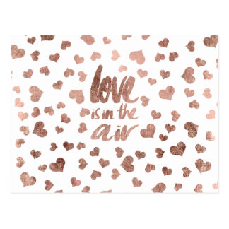 Valentines Love typography modern rose gold hearts Postcard