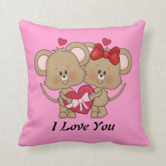 Valentines Mice Love throw pillow