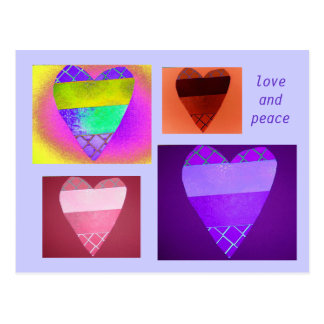 Valentine's Multicolor Digital Collage Postcard