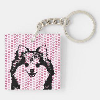 Valentines - Pomeranian Silhouette Keychain