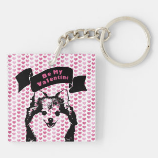 Valentines - Pomeranian Silhouette Acrylic Keychain