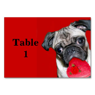 Valentine's pug dog table cards