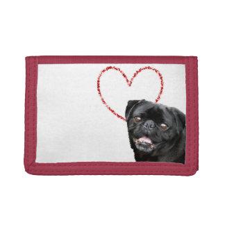 Valentine's pug dog tri-fold wallets