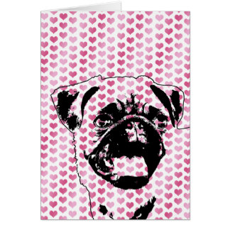 Valentines - Pug Silhouette Card