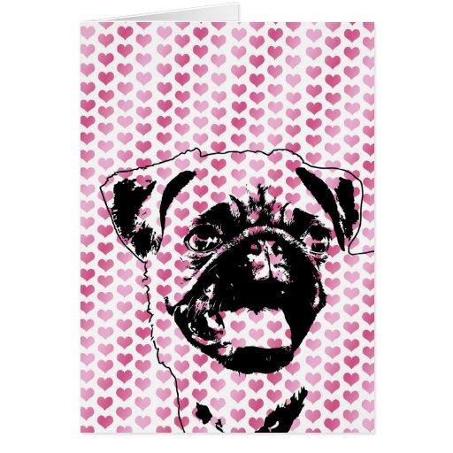 Valentines - Pug Silhouette Card