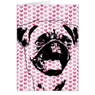 Valentines - Pug Silhouette Greeting Card