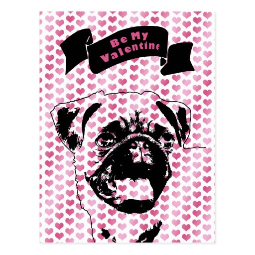 Valentines - Pug Silhouette Post Cards