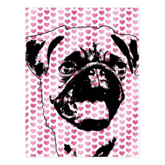 Valentines - Pug Silhouette Postcard