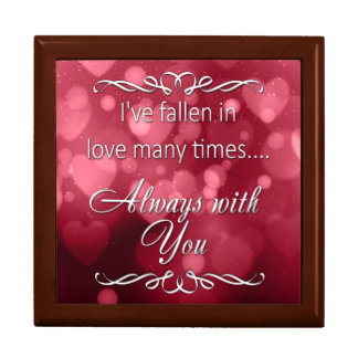 "Valentine's Red Bokeh Hearts ""Always You"" Gift Box"
