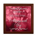"""Valentine's Red Bokeh Hearts """"Always You"""" Large Square Gift Box"""