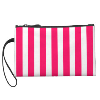 Valentines Rose Pink and White Stripes Wristlet Purse