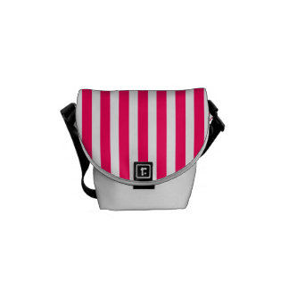 Valentines Rose Pink and White Stripes Courier Bags