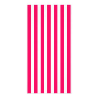 Valentines Rose Pink and White Stripes Picture Card