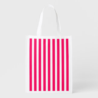 Valentines Rose Pink and White Stripes Reusable Grocery Bags