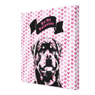 Valentines - Rottweiler Silhouette Gallery Wrap Canvas