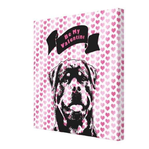 Valentines - Rottweiler Silhouette Gallery Wrap Canvas