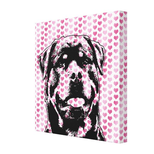 Valentines - Rottweiler Silhouette Stretched Canvas Print