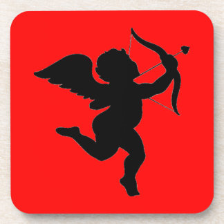 Valentines s Day Gift Cupid Silhoutte Drink Coaster