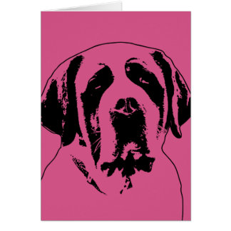 Valentines - Saint Bernard Silhouette Greeting Card