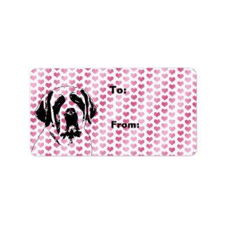 Valentines - Saint Bernard Silhouette Address Label