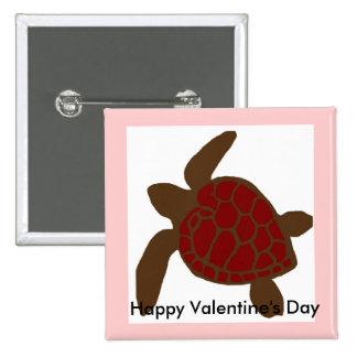 Valentines sea turtle button
