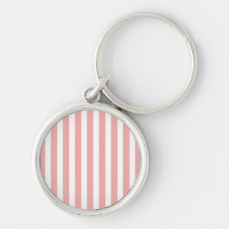 Valentines Stripes in Blush Pink and White Key Chain