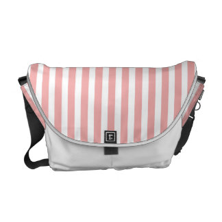 Valentines Stripes in Blush Pink and White Messenger Bags