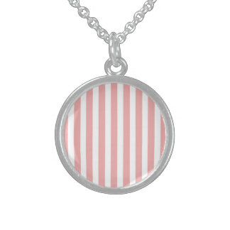 Valentines Stripes in Blush Pink and White Sterling Silver Necklaces